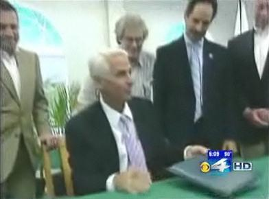 Governor Crist Signs Sprinkler Reief Bill at Beach Community Center