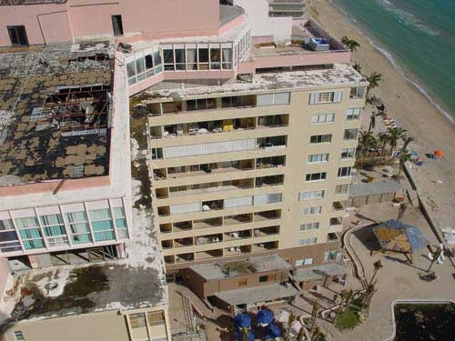 Roofless Ocean Manor after Hurricane Wilma