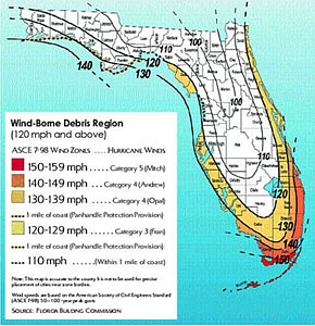Click Here (On Graphic) for Larger Version of Wind-Borne Debris Regions used for General Construction Products
